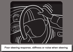 Poor steering response, stiffness or noise when steering