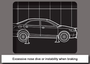 Excessive nose dive or instability when braking