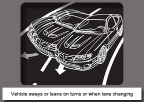 Vehicle sways or leans on turns or when lane changing