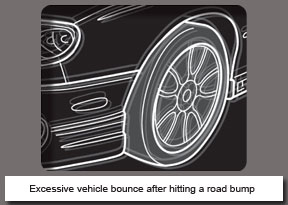 Excessive vehicle bounce after hitting a road bump