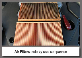 side by side comparison of dirty versus clean air filters