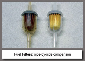 side by side comparison of dirty versus clean fuel filters