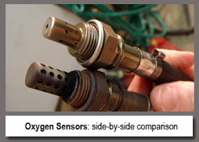 side by side comparison of bad versus good oxygen sensors